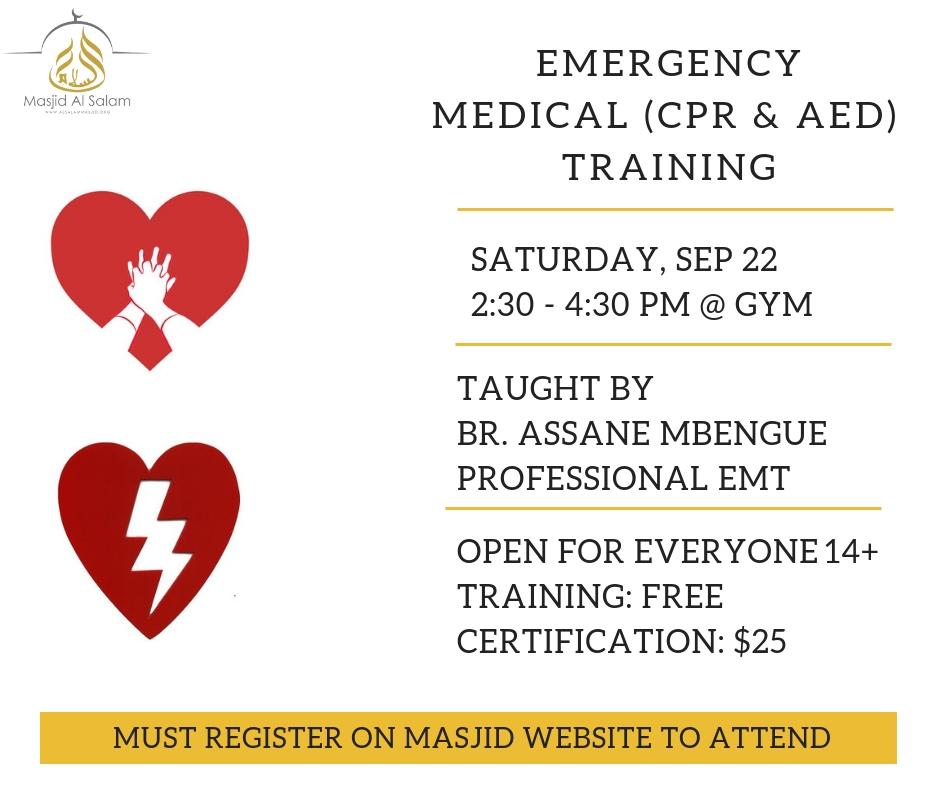 Emergency Medical Cpraed Training Masjid Alsalam