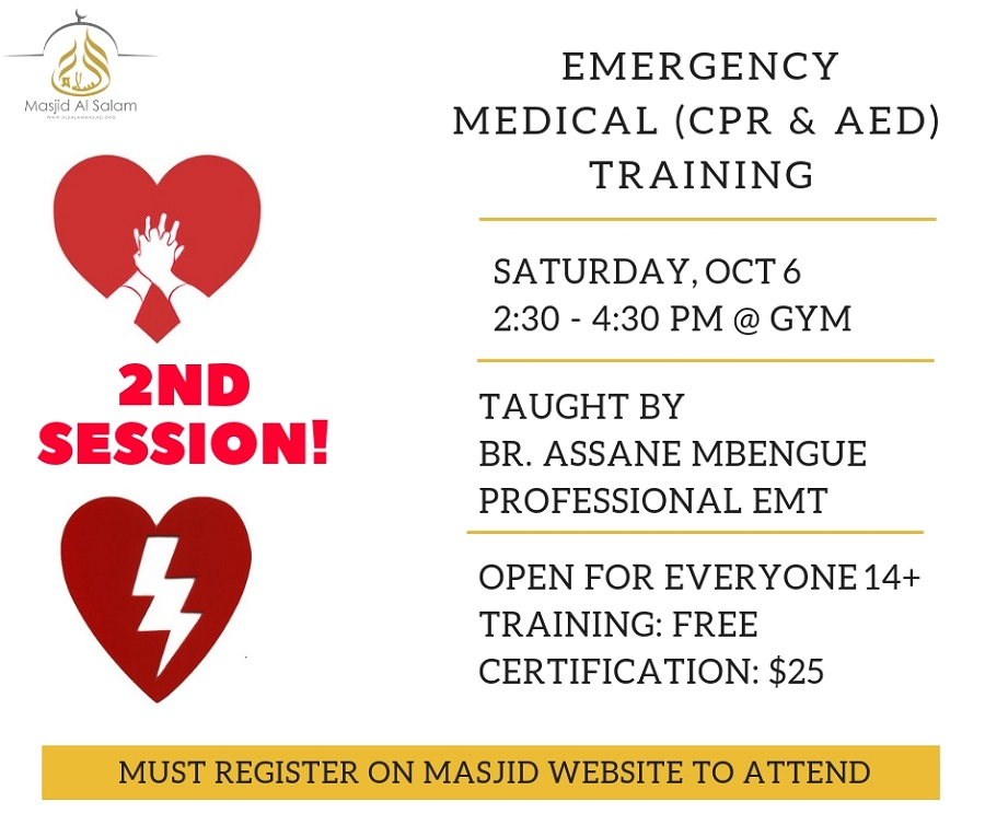 Emergency Medical Cpraed Training 2nd Session Masjid Alsalam