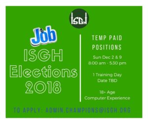 ISGH Elections Jobs
