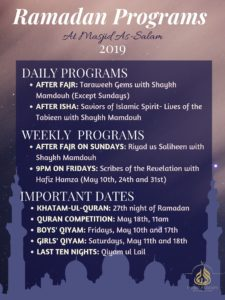 Ramadan Programs 2019