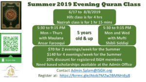 Summer 2019 Evening Quran Classes
