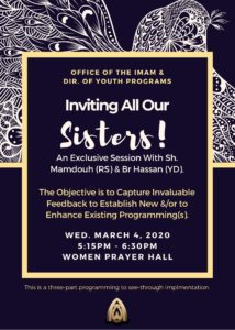 Invited! to Sisters Feedback Forum with Sh Mamdouh & Br Hassan