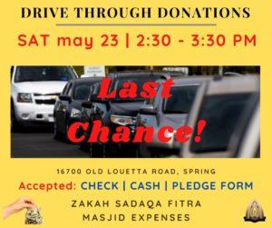 Drive Through DONATIONS - LAST CHANCE