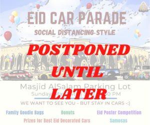 Eid Car Parade - POSTPONED