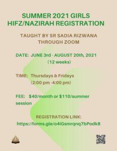 Girls Hifz and Nazirah Summer 2021