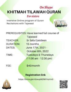 KHITMAH TILAWAH QURAN for sisters