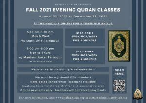 Fall 2021 Evening Quran Classes