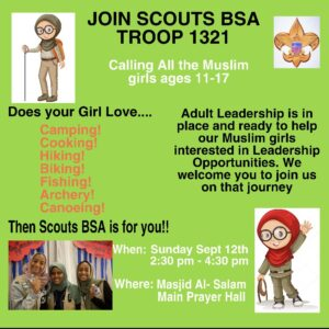 Join Masjid AlSalam's Scouts Troop for Girls - Date Changed