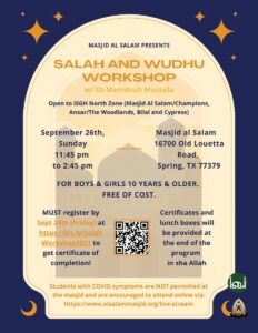 Salah & wudu Workshop for Youth